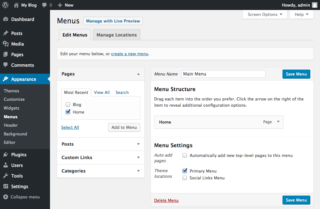 Adding your WordPress pages to a menu