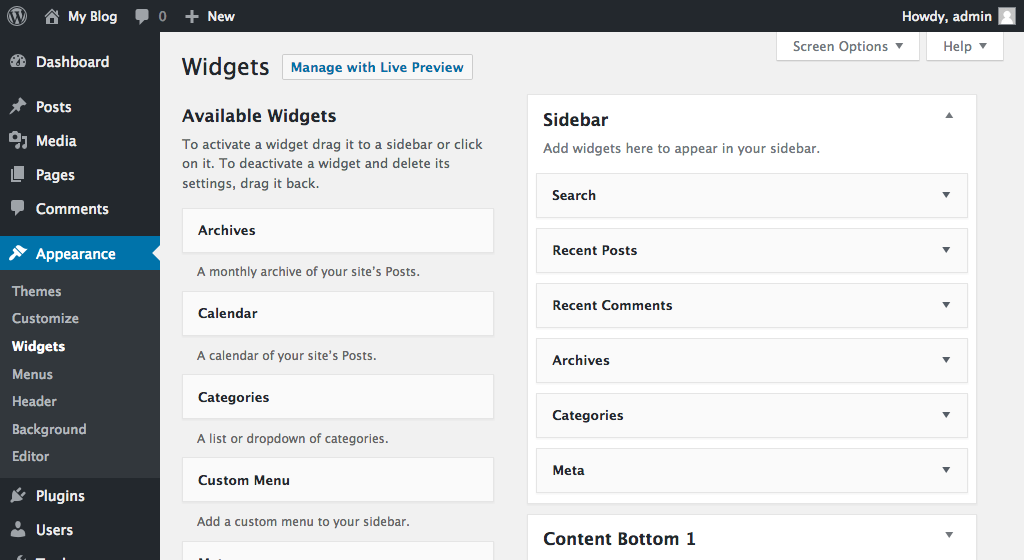 WordPress available widgets
