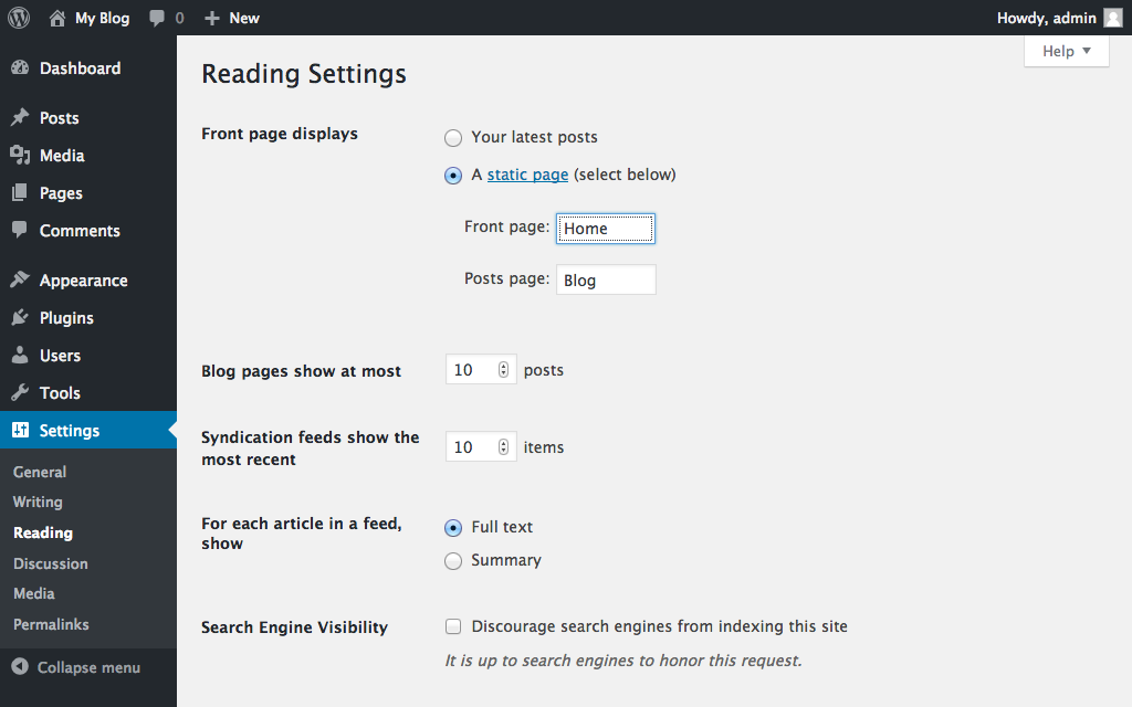 Setting up a static front page in WordPress